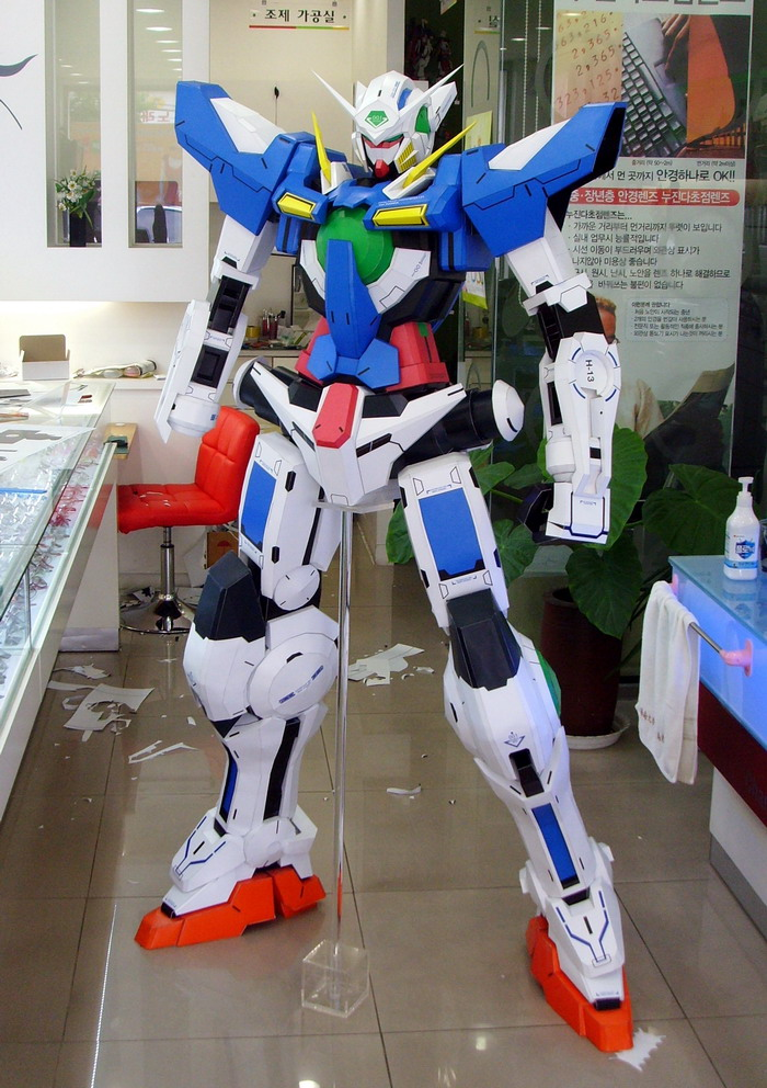 papercraft gundam exia 180cm tall  photo review no 16 big size images
