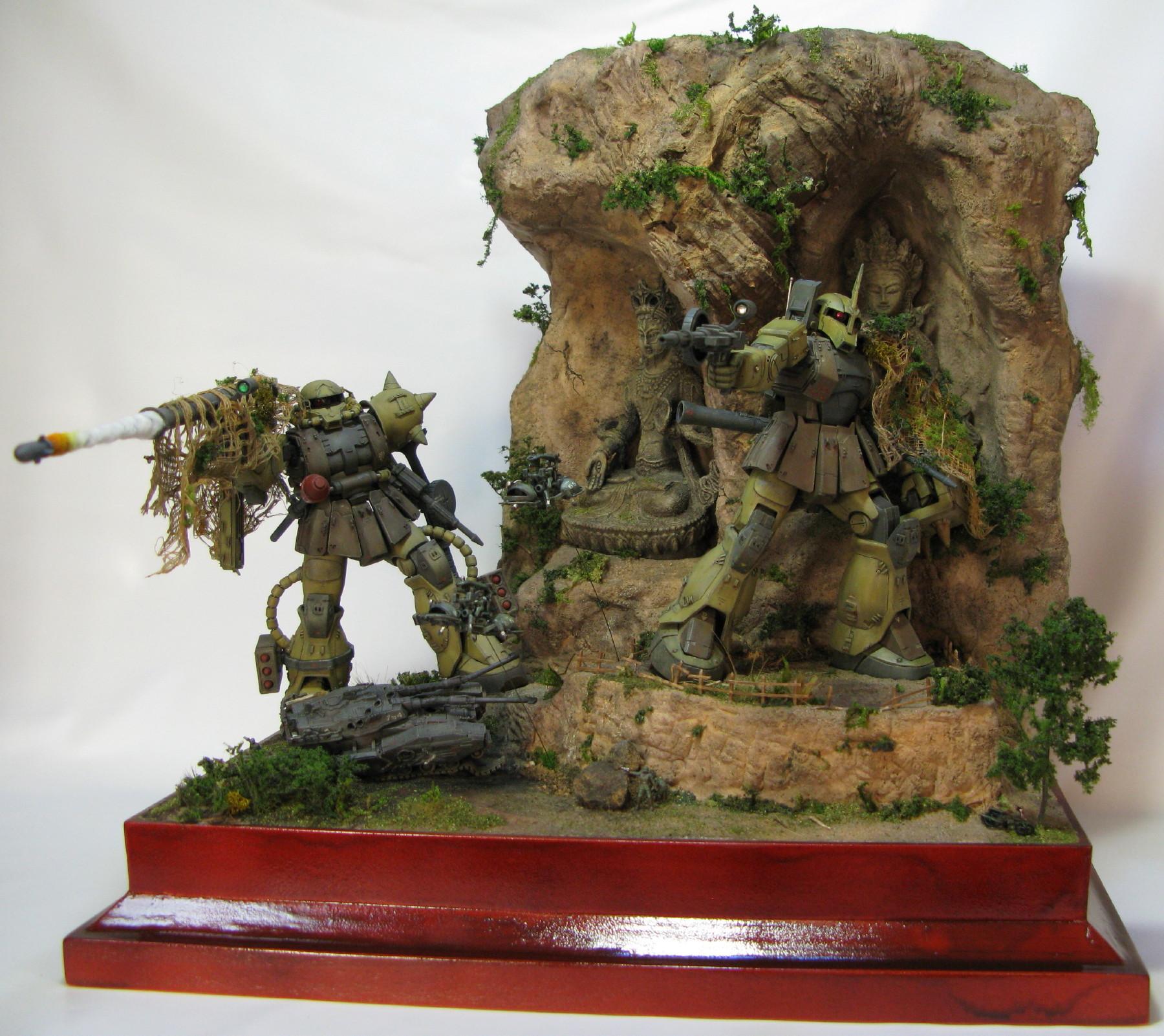 1/144 Diorama: Zaku II, Zaku I, Type-615+, Wappa ...