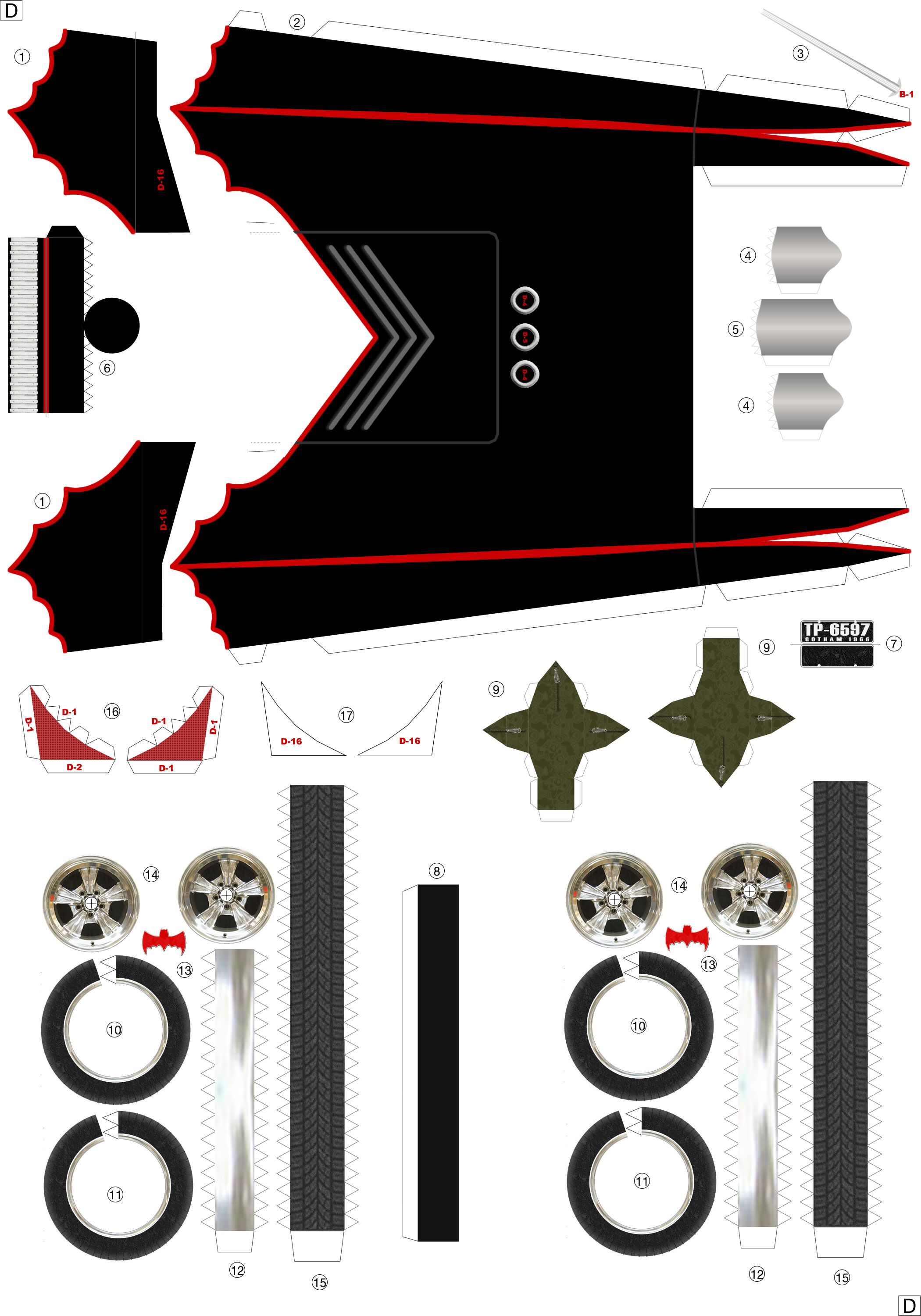 build your own papercraft 1  24 batmobile 1966 ver