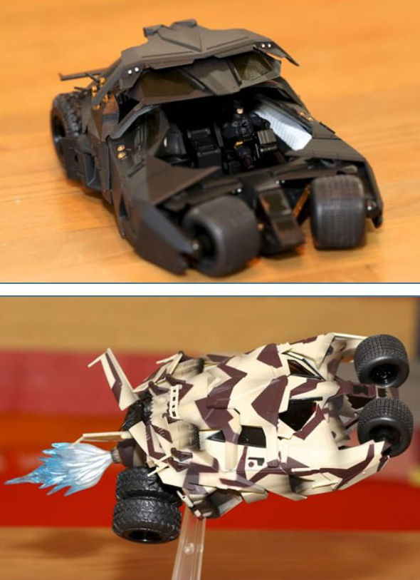 Revoltech No.043 Batmobile Tumbler & No.043EX Batmobile Tumbler Camouflage Ver. : Full Photoreviews. No.26 Big Size Images, Info