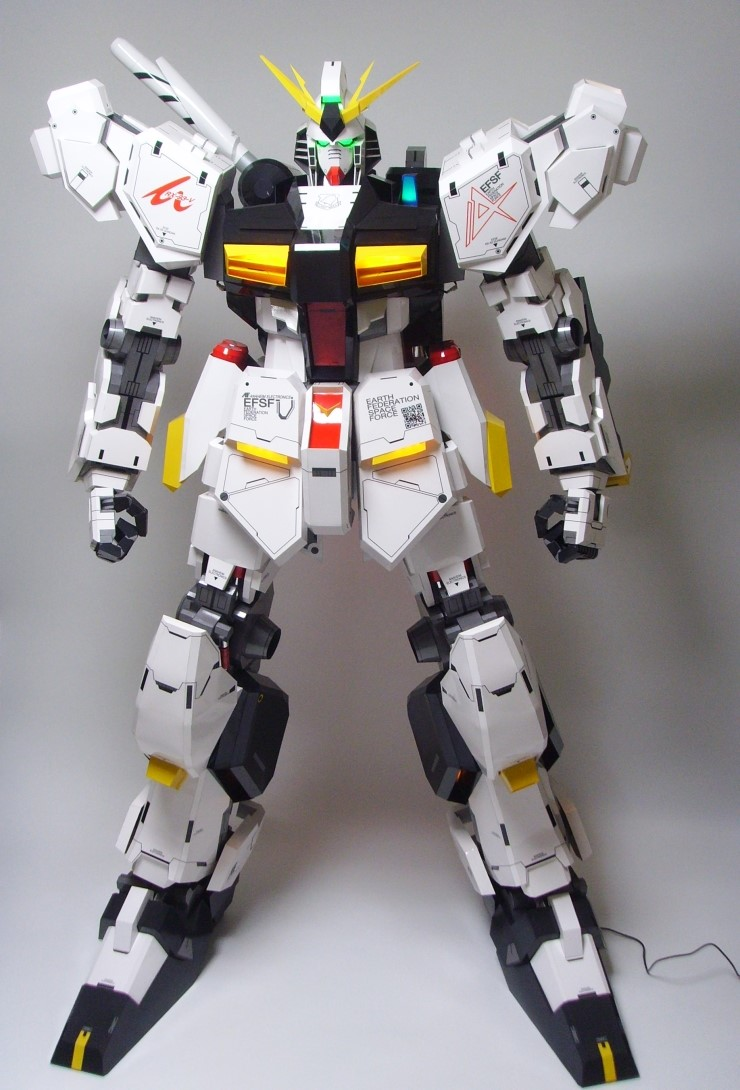 papercraft 180cm tall nu gundam full leds latest work by