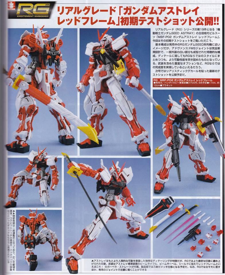 RG 1/144 Gundam Astray Red Frame: Scan From Hobby Magazine, Info Release, LINK