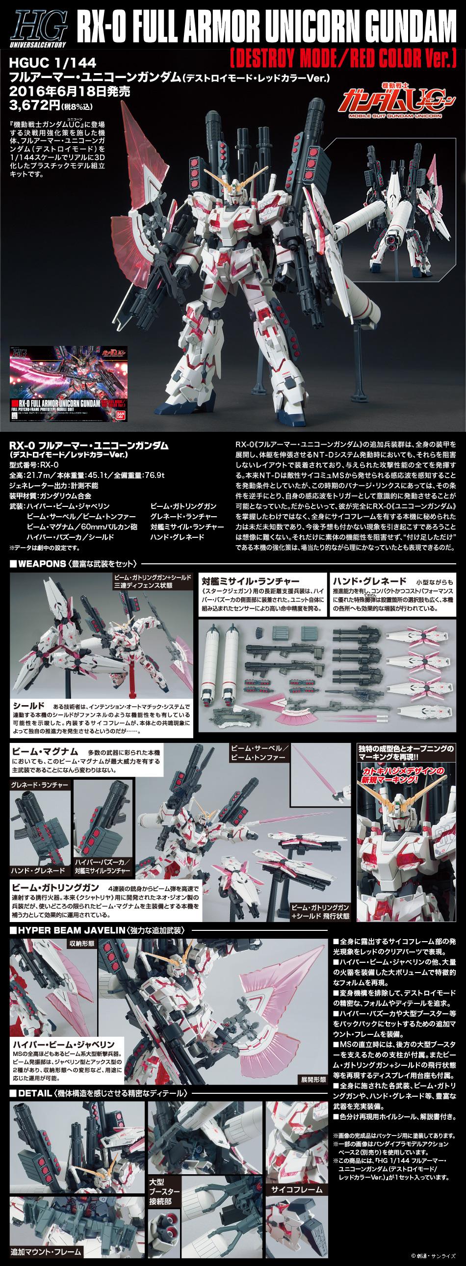 HGUC 1/144 RX-0 Full Armor Unicorn Gundam Destroy Mode RED COLOR VER.