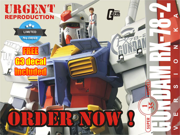URGENT REPRODUCTION (Limited Pre-Order) G-System 1/35 Gundam RX-78-2 Ver.Ka with FREE G3 Decal Included, Images/Info
