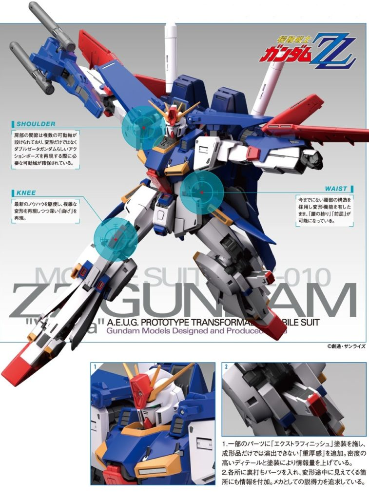 MG 1/100 MSZ-010 ZZ GUNDAM Ver.Ka: Just Added Many New CG Official Images, Info Release