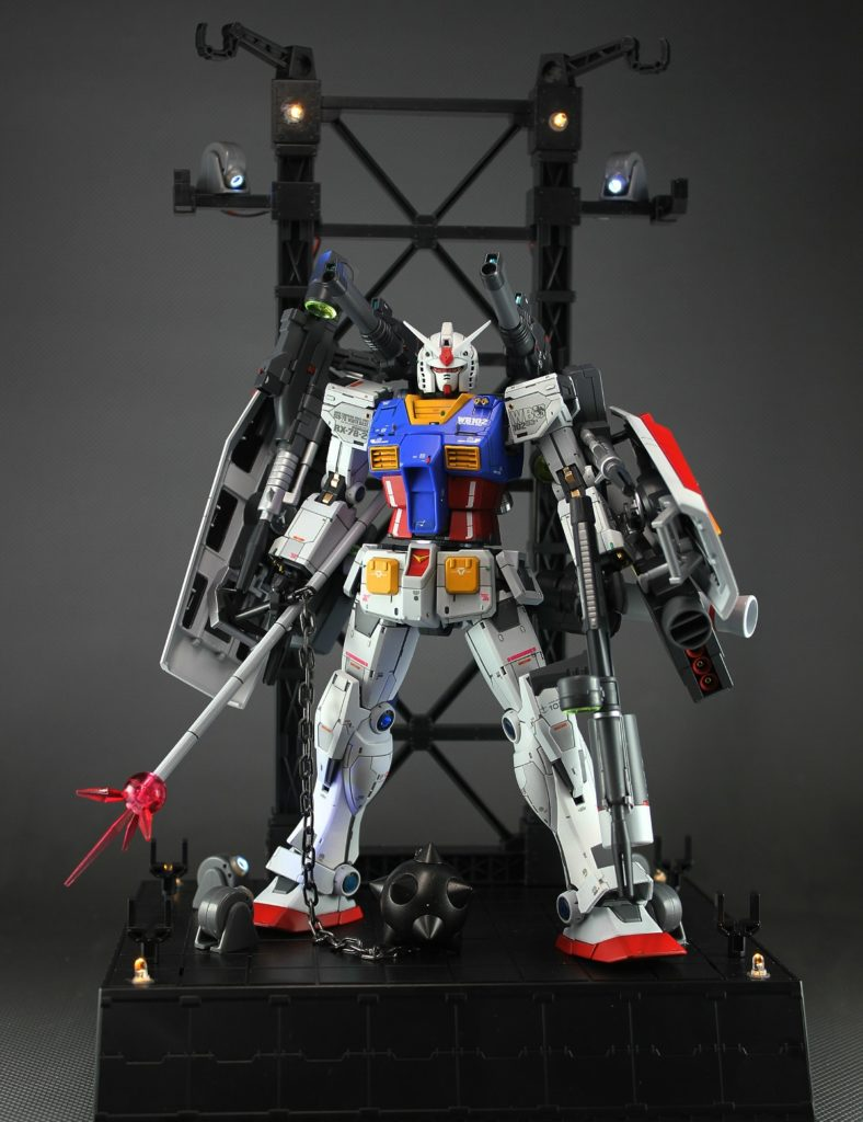 "gunintuition""Kouichi""'s IMPRESSIVE MG 1/100 RX-78-02 Gundam [Gundam The Origin Ver.] w/Display, Full LEDs.  Full Review, comparison, info credits too"