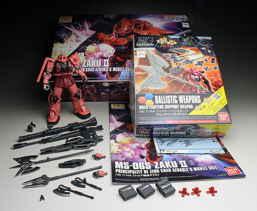 [WORK REVIEW] HG GTO 1/144 Char Aznable's Zaku II + HGBC 1/144 Ballistic Weapons: BALLISTIC ZAKU painted build