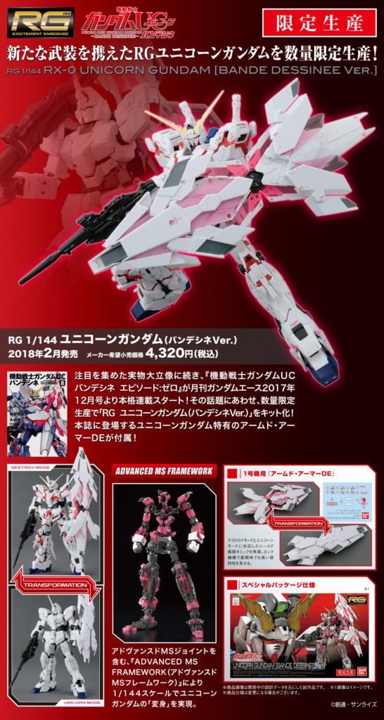 RG 1/144 RX-0 UNICORN GUNDAM [BANDE DESSINEE Ver.] Full Big Size Official Images, Info Release
