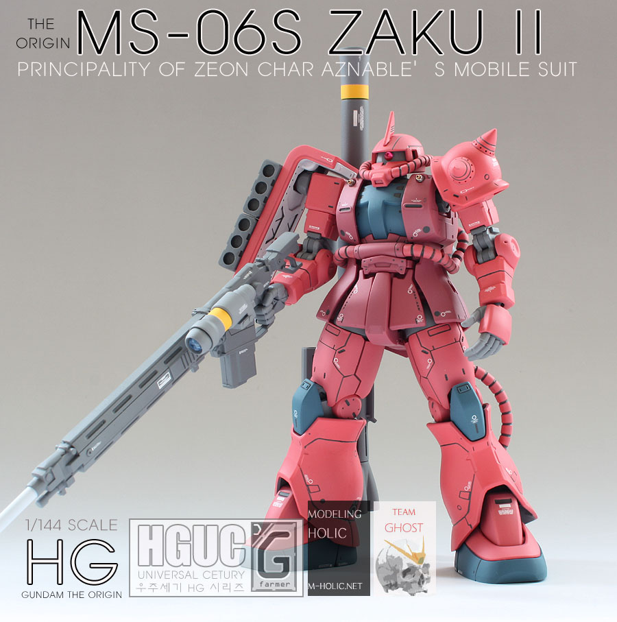 G-farmer's HG Gundam THE ORIGIN 1/144 CHAR's ZAKU II latest improved work, Review/WIP