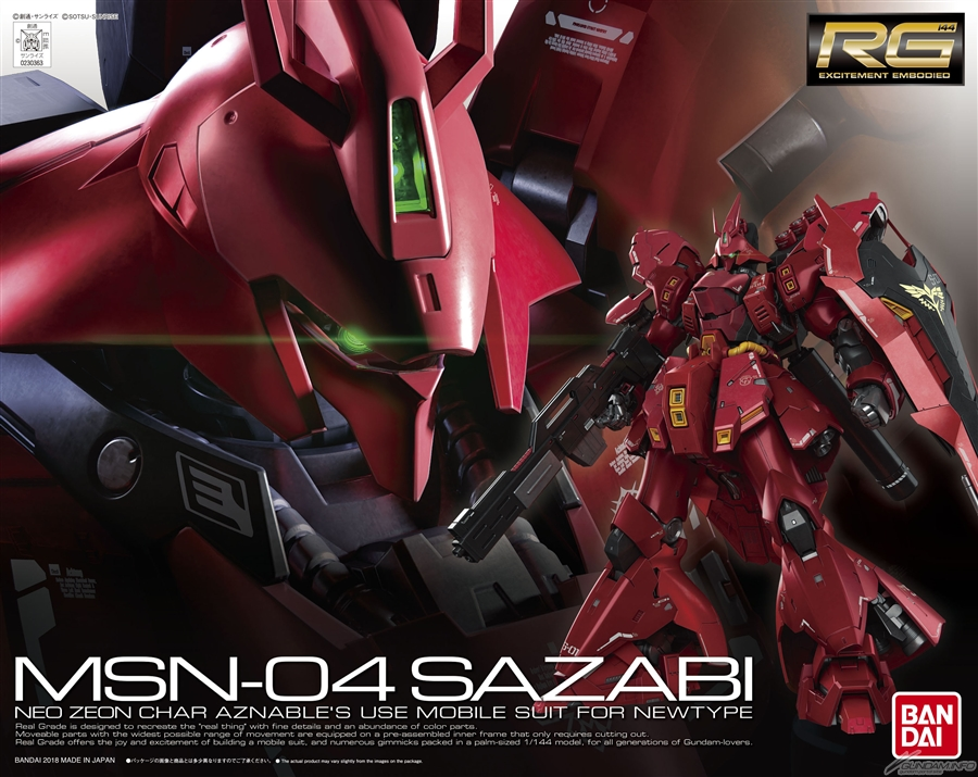 RG 1/144 MSN-04 SAZABI: BOX ART / New Official Images, Full Info