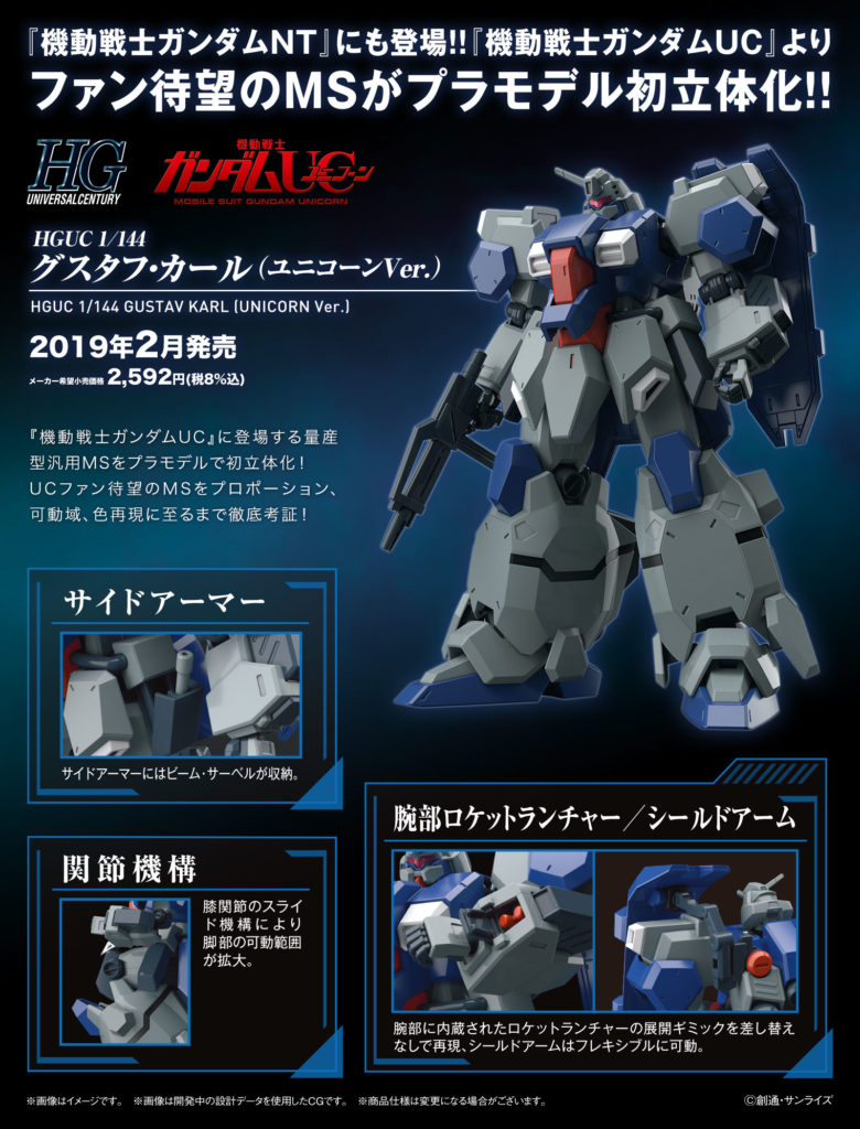 HGUC 1/144 GUSTAV KARL (UNICORN Ver.) Update Official Images, Info Release