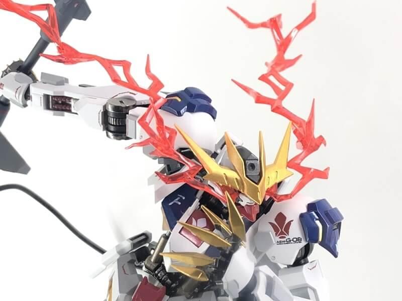 new closeup of the head of the Gundam Barbatos Lupus Rex