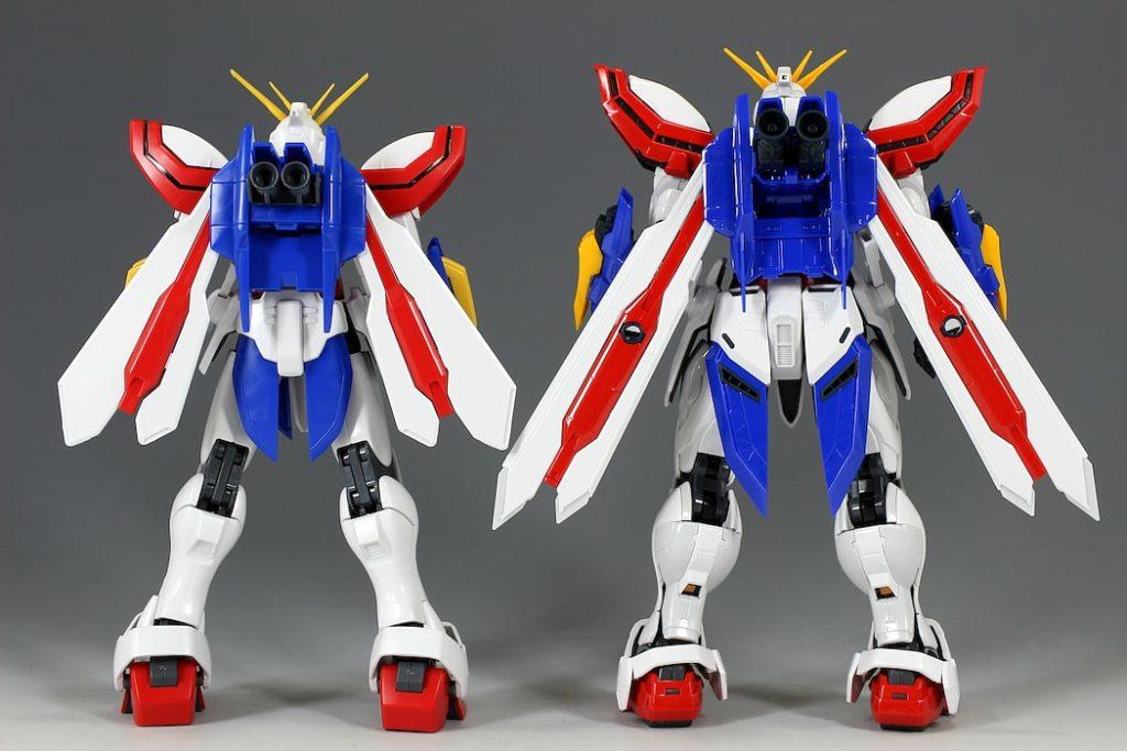 rear comparison of god gundam