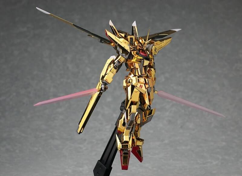 Akatsuki Gundam on display stand with beam sabers