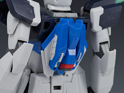 closeup rear view of the Blast Impulse Gundam