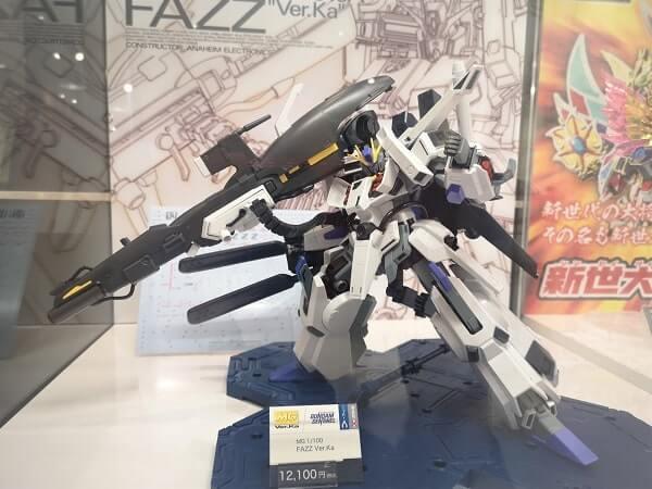 FAZZ Ver.Ka on display stand at gundam base tokyo