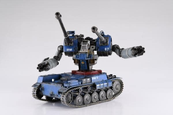 in action shot of Guntank transformable