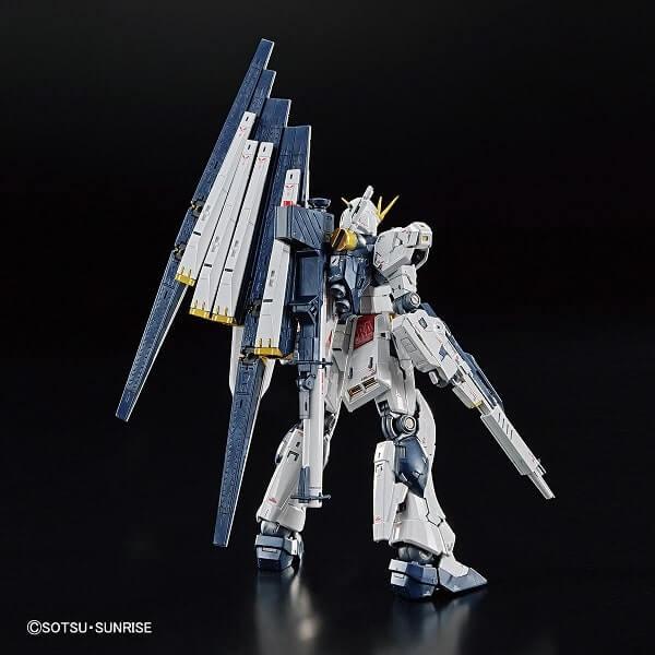 rear view of Nu Gundam Titanium Finish