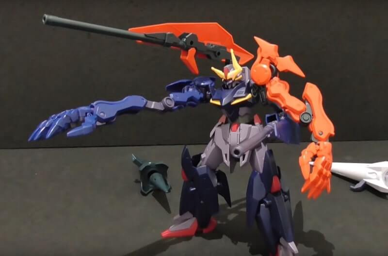 screen from the video review of gundam seltsam arms