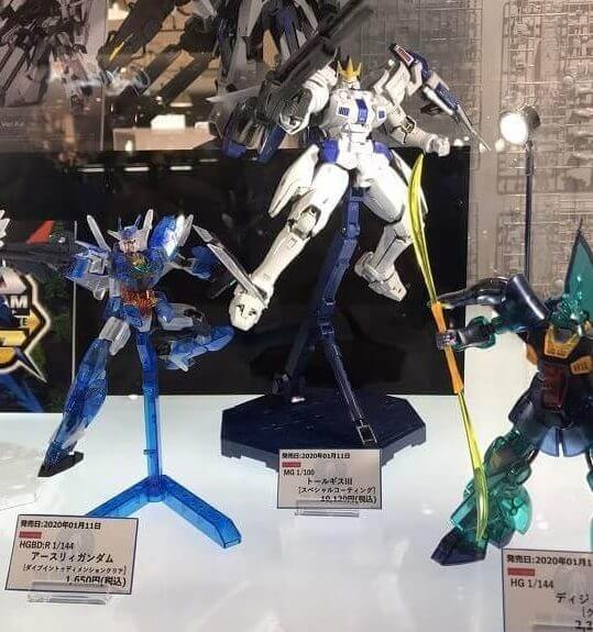 Tallgeese III Special Coating on display stand at gundam base in tokyo