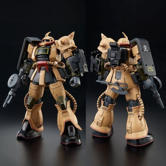 front and rear view of the Zaku Desert Type