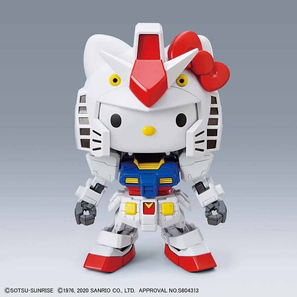 front view of the transformation from hello kitty to gundam