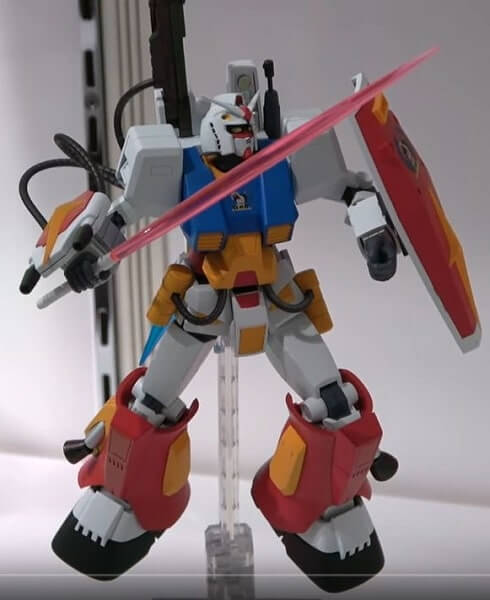 perfect gundam on display stand