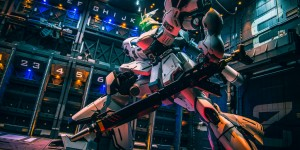 AMAZING Hangar Diorama Full LEDs with MG White Sazabi Ver.Ka: Work by zteng. Photoreview FULL Size Images