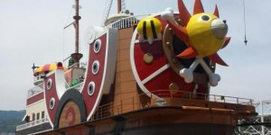 The Thousand Sunny to anchor at the port of Laguna Ten Bosch, Theme Park in Gamagori. Info, Images