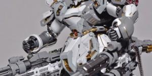 "MG 1/100 Sazabi Ver.Ka ""der Schnee + Quad Gatling Gun"": Modeled by PA Studio. Hi Res Images, Full Info"