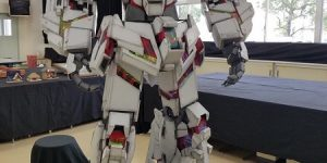 Cardboard Unicorn Gundam built by Japanese high school students